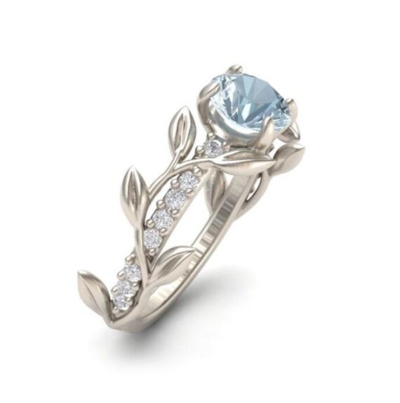 Leaf Engagement Ring White Gold 14k Aquamarine Engagement