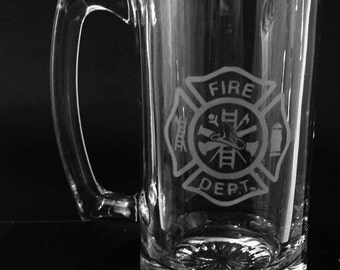 Firefighter beer mug ~ Fireman etched mug ~ Personalized beer glass ~ Firefighter gift