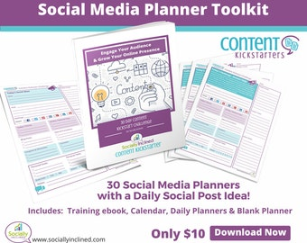 Social Media Planner Toolkit - 30 Days of Social Post Ideas on a Daily Social Media Marketing Planner, Ebook and Calendar