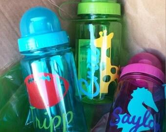 Kids water bottle, toddler water bottle, pop top water bottle, travel water bottle