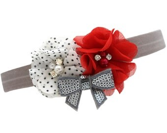 Red & White Dot Esmeralda Headband w/ Silver Bow