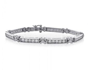 5.25 Carat Diamond Fancy Shaped Link Bracelet 14K White Gold