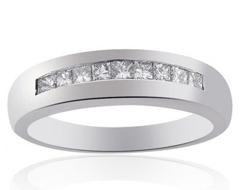 0.75 Carat Mens Princess Cut Diamond Wedding Band 14K White Gold