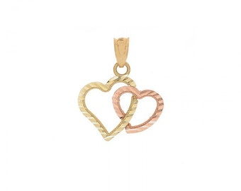 Two Heart Pendant 14K Two Tone Gold Diamond Cut