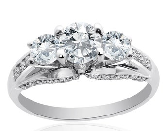 1.50 Carat F/G-SI Natural Round Cut Diamond Engagement Ring 14K White Gold
