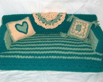 Pet Bed - Hand Crochet Pet Sofa - Doll Furniture