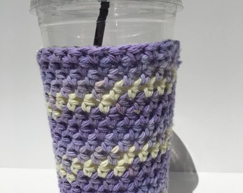 Crochet Iced Coffee Cozy/ Iced Coffee cozy/ Crochet coffee cozy/ Cotton cup sleeve/ Summer drink cozy