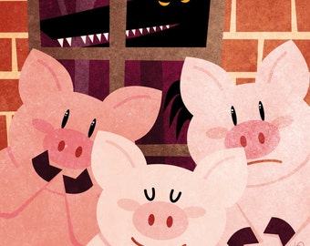 Tales - The Three Little Pigs print