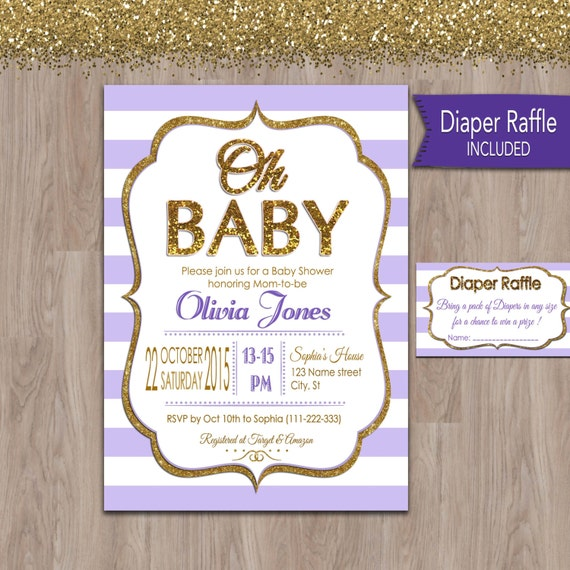 purple and gold baby shower invitation purple baby shower