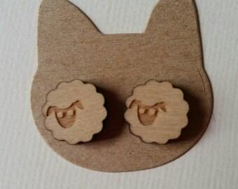Wooden sheep stud earrings 12mm