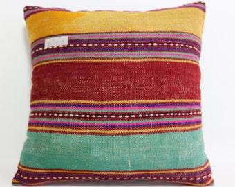 16x16 kilim pillowcase multicolor kilim pillow cover 16x16 striped designs Turkish pillow decorative pillow tribal pillow SP4040-1263