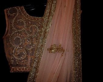 S/S-16.  SHEER BLING sari blouse