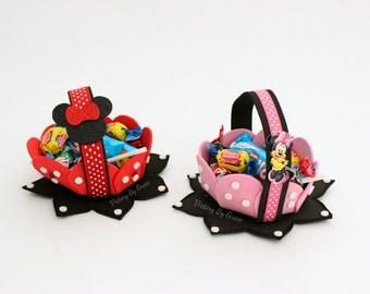 pink Minnie Birthday Minnie Mouse Goodie Baskets Minnie Mouse Party Baskets, Minnie Mouse Favors Minnie Favors, Minnie Toppers, Cup cake
