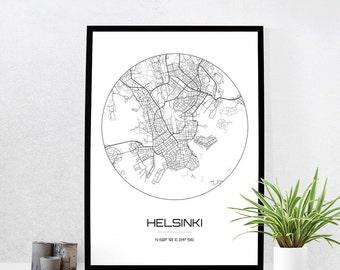 Helsinki Map Print - City Map Art of Helsinki Finland Poster - Coordinates Wall Art Gift - Travel Map - Office Home Decor