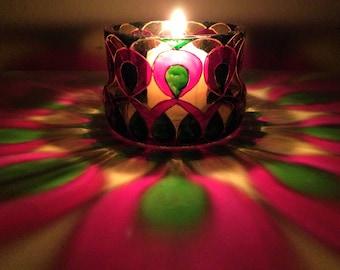 boho candle holder,Boho Wedding Decor, Henna Wedding tea light holder,glass candle holder for Henna Wedding Decor