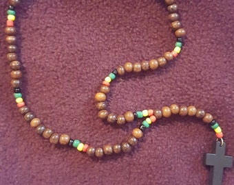 Multicolor Beaded Necklace with Cross