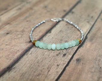 Amazonite Bracelet, Beaded Bracelet, Amazonite Jewelry, Gemstone Bracelet, Hematite Beaded Bracelet