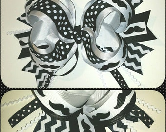 Black & White Mustache Bow