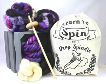 Learn To Spin Kit - Drop Spindle Starter Kit, DIY Kit, Spinning Kit