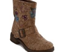 Cork Fabric Boots. Biker style Mid calf