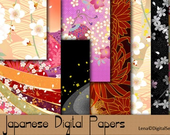 19 Japanese Digital Papers INSTANT DOWNLOAD decoupage paper Japanese patterns background