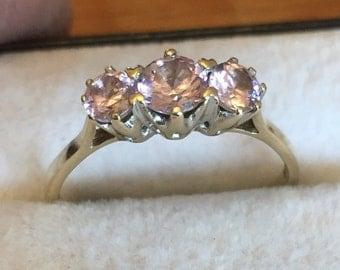 Vintage 9ct gold pink cz ring
