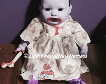Zombie baby OOAK altered doll. Scary horror creepy halloween doll