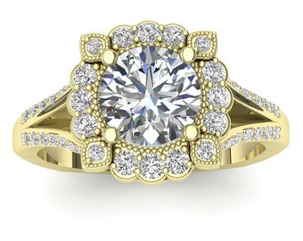 Yellow Gold Halo Engagement Ring Beaded Halo 0.35ct Round Diamonds, for 1.0ct Round Center Semi Mount Brand New 14K Setting Only