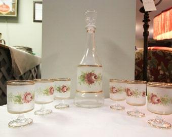 Vintage 7- pic decanter set, satin glass floral design