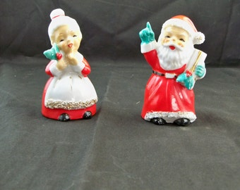 Vintage Mr. and Mrs. Clause shakers