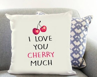 I Love You CHERRY Much Printed Cushion Cover Fruit Gift Birthday