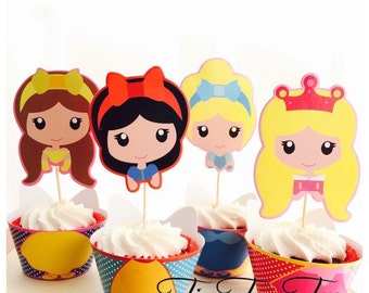 12pcs Disney Princesses Cupcake Wrappers + Toppers