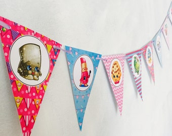 Shopkins Bunting Banner. Party Supplies Hanging Decorations strawberry Kisses Bunting Flags