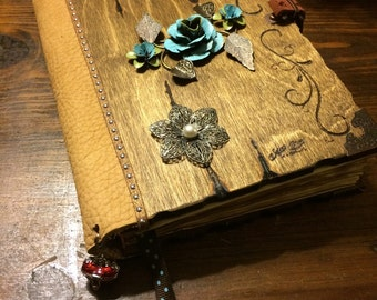 Blue antique flower journal