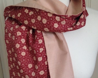 Silk scarf/wrap. Pink and red scarf/wrap made from kimono silk.