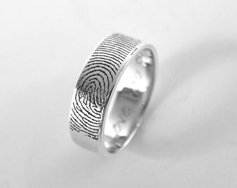 Actual Fingerprint and Handwriting Rings- Personalized Fingerprint Rings- Promise Rings - Couple Rings - Best Gift