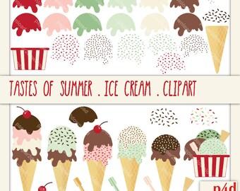 Summer Tastes - Ice cream & Gelato - Clipart - Digital Collage, PNG, Instant Download