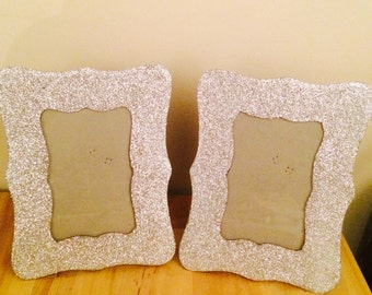 Glittered photo frames