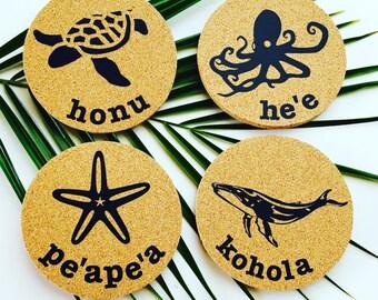 Hawaii Sea Life Coaster Set ~ Hawaii Starfish Coaster ~ Sea Turtle Coaster ~ Octopus Coaster ~ Whale Coaster ~ Hawaiian Coaster Set