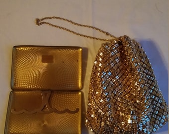 Vintage Whiting and Davis Gold Mesh Evening Purse and a Gold Tone Cigarette Case