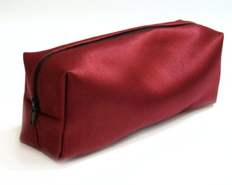 Red Satin Black Lined Box Pencil or Makeup Case
