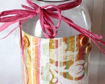 Pink Stripe Storage Jar
