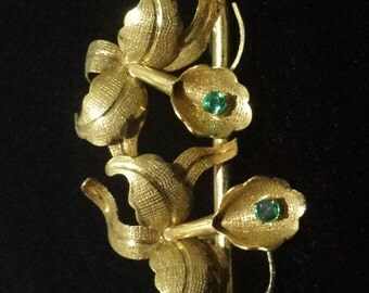 18K Yellow Gold Flower Pin Brooch With Emeralds
