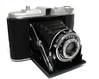 Vintage AGFA Jsolette Camera with Leather Carrying Case 1937 Black Horizontal Folding Bellows Camera Collectible Agfa Black & Chrome Camera