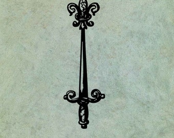 Sword with Fleur de Lys - Antique Style Clear Stamp