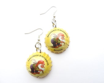 La Chouffe beer bottle cap earrings - recycle - bier - biere - cerveza