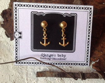 Anchor earstuds, earrings,raw brass, steel, maritime jewelry, nautical jewellery, pinup