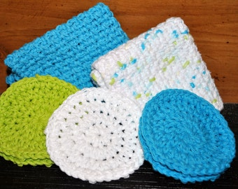 Crochet Washcloth and Face Srubby set
