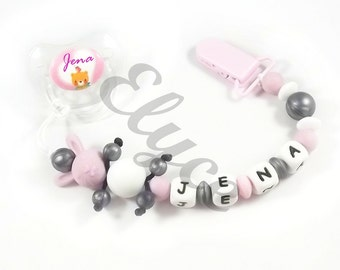 Home-pacifier-Soother custom, with pearls silicone special teething, model rabbit
