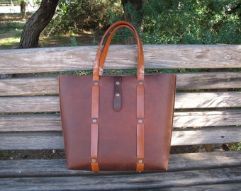 "Leather Handmade Tote Bag / ""Terry II"" / Bag / Hand Stitched Leather Bag / Tote bag / Handmade Bag / Large Bag"